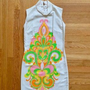 Mod 1960s psychedelic mini dress roll collar XS/S